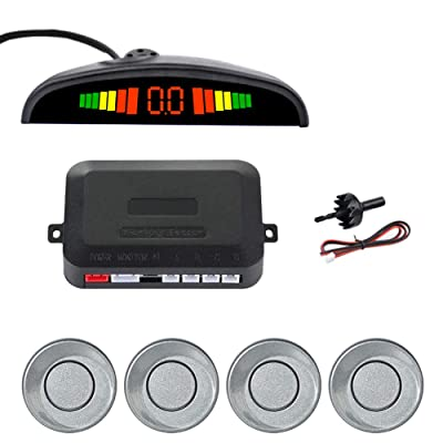 SINOVCLE Car LED Parking Sensor Kit 4 Sensors 22mm Backlight Display Reverse Backup Radar Monitor System 12V (Gray Color): Automotive