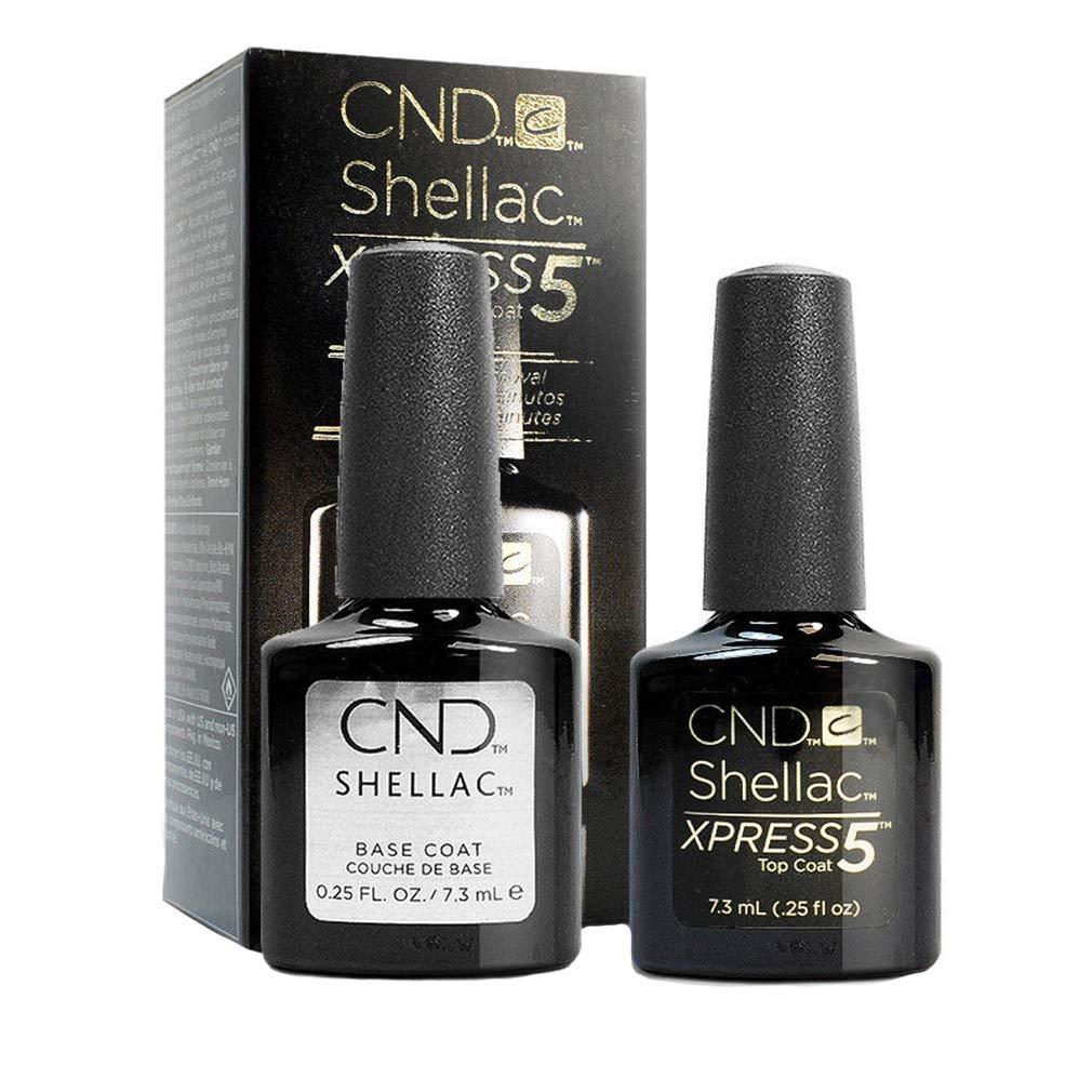 CND Shellac Xpress5 Top Coat & CND Shellac Base Coat (7.3ml/Bottle) - Professional Gel Polish