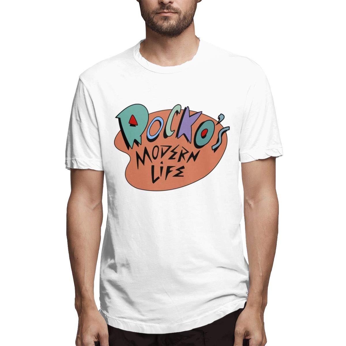 LANBRELLA Mens Rockos Modern Life Sport Crew-Neck Short Sleeve T-Shirt for Men