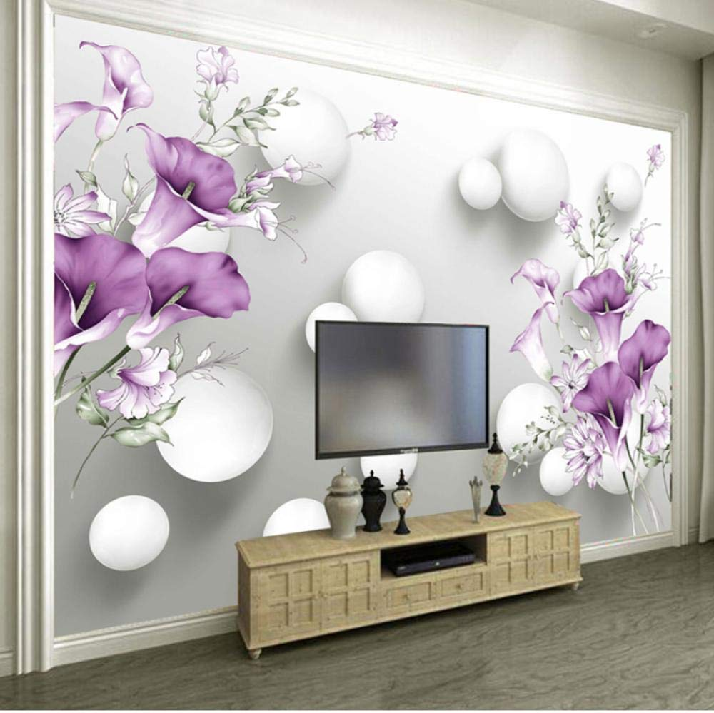 Amazon Com Aisufen Custom Photo Wallpaper 3d Stereo Circle Ball Purple Calla Flowers Murals Modern Bedroom Living Room Tv Background Wall Painting 280x180cm Baby