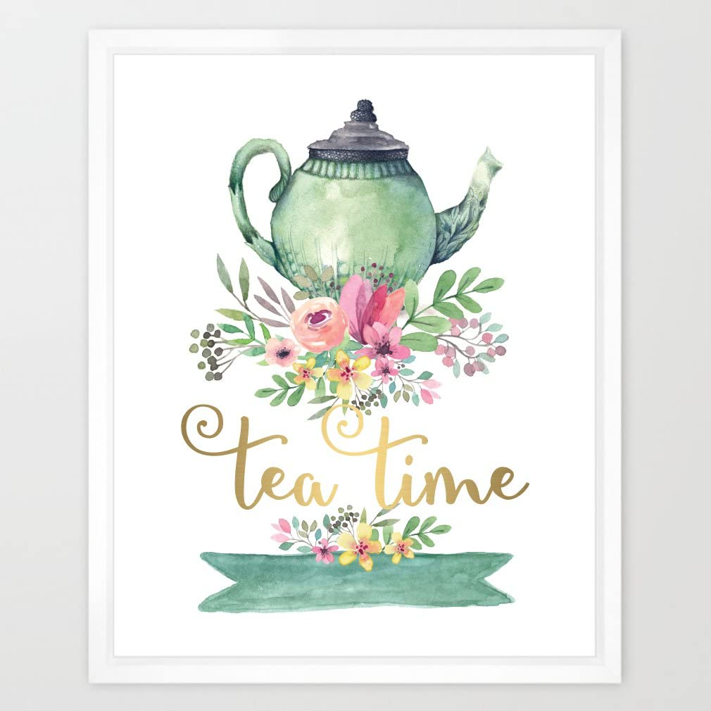 Eleville 8X10 Tea time Real Gold Foil and Floral Watercolor Art Print (Unframed) Kitchen Art Home Decor Motivational Art Inspirational Print Birthday Wedding Gift Quote Print WG004