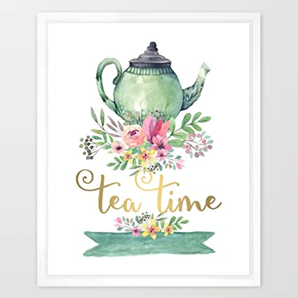 Amazon Com Eleville 8x10 Tea Time Real Gold Foil And Floral