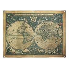 french retro vintage large old world map waterproof linen poster print art wall hanging decor 48x36