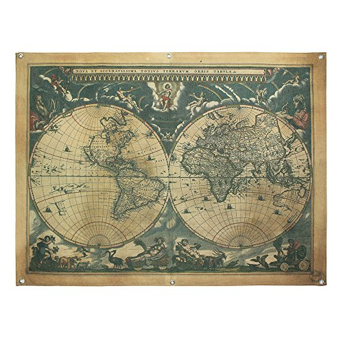 French Retro Vintage Large Old World Map Waterproof Linen Poster Print Art Wall Hanging Decor 48X36 -