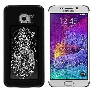 "For Samsung Galaxy S6 EDGE / SM-G925(NOT FOR S6) Case , Diseño floral Negro Blanco Cráneo floral"" - Diseño Patrón Teléfono Caso Cubierta Case Bumper Duro Protección Case Cover Funda"