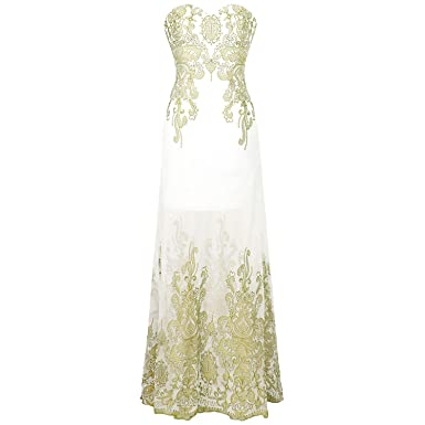 Strapless Embroidery See Through Lace up Evening Dress Vestidos de Noche Black 189,Gold White