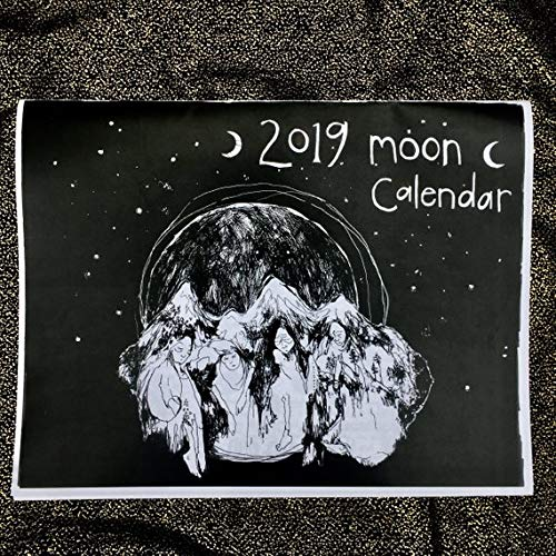 - 2019 Moon Calendar- Black and White Astrological Lunar Wall Calendar Moon Phase Cycles Original line Drawings by Amara Hollow Bones