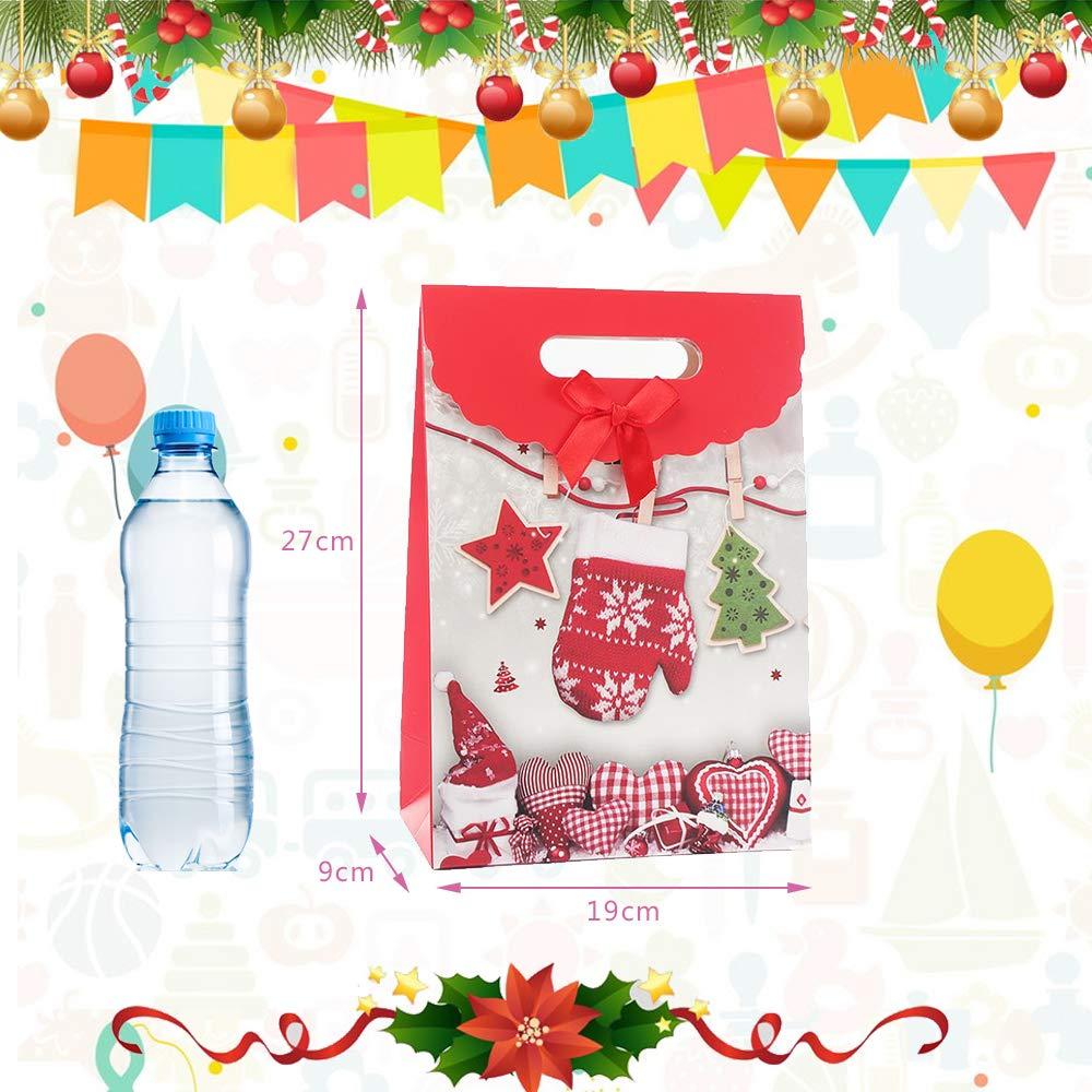 cumplea/ños bodas y celebraciones de fiestas Bolsas al por menor Bolsas de papel para fiestas Bolsa Kraft con asa para Navidad 8PCS Bolsas de regalo de Navidad fiesta de t/é