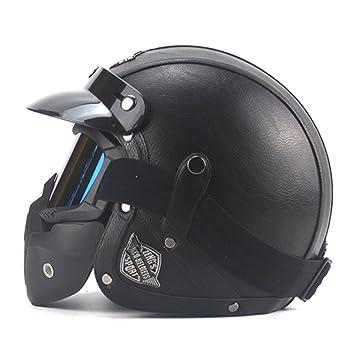 Retro estilo alemán, casco de motocicleta 3/4 cara abierta Scooter Casco Chopper Cruiser