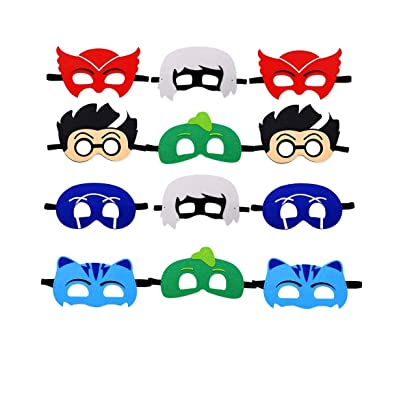 Cartoon Heros Felt Masks 12 pcs Party Favor Cosplay for Children. Catboy Owlette Gekko Romeo Night Ninja Luna Girl - Birthday Party Masks: Toys & Games