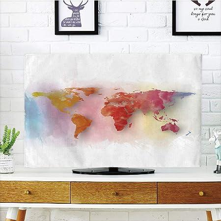 iPrint LCD TV cubierta de polvo, mapa del mundo, el mundo en los hemisferios, diseño vintage