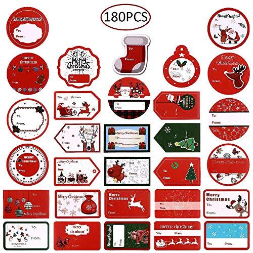 - LANPIX 180 Pieces Xmas Gift Tags Label Stickers Self-Adhesive Name Tag