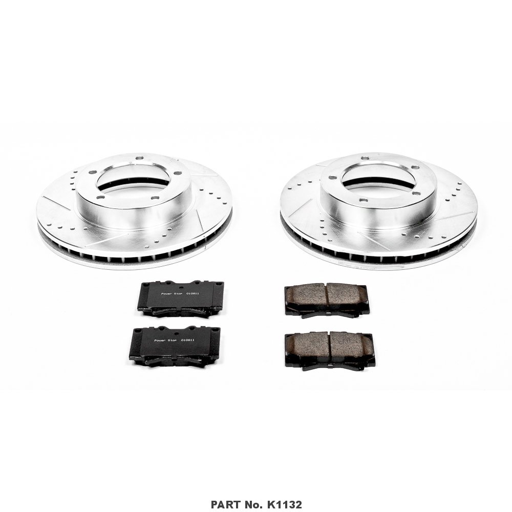 Power Stop K1132 Front Z23 Evolution Brake Kit with Drilled//Slotted Rotors and Ceramic Brake Pads
