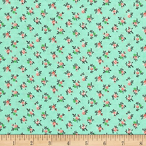 (Santee Print Works New Country Calicos Flowers Mint Fabric by The Yard,)