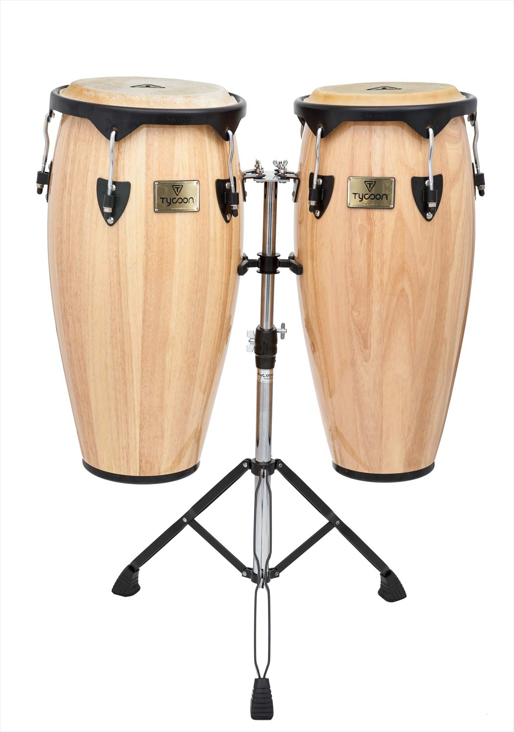 Tycoon Percussion 10 Inch & 11 Inch Congas Natural Finish With Double Stand by Tycoon Percussion