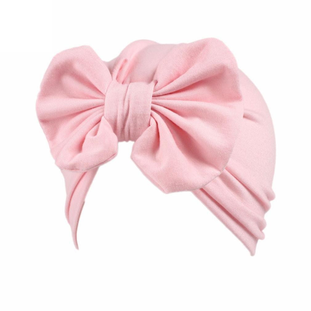 Hatop Children Baby Girls Boho Bowknot Hat Beanie Scarf Turban Head Wrap Cap (Pink)