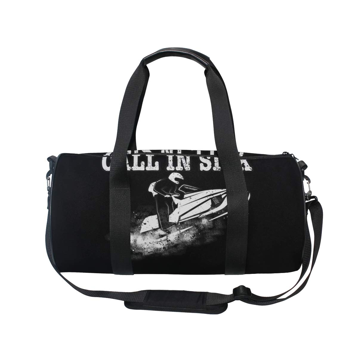 Gym Bag with Funny Distressed Snowmobile Aged Print Travel Weekender Duffel Bag for Man and Woman