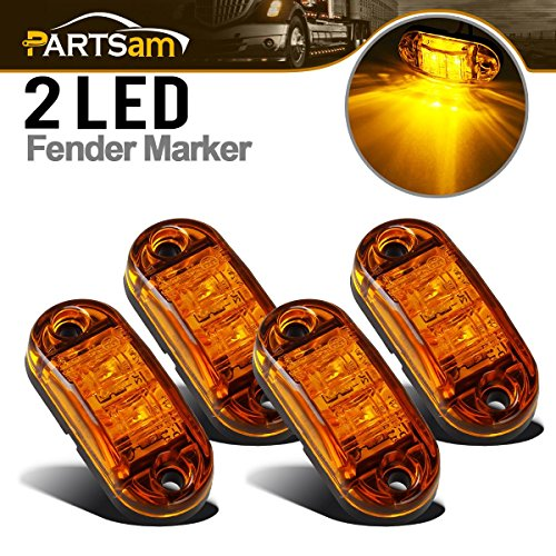 Partsam 4 Pcs 2.5inch Oval Amber Lens 2 Diode LED Trailer Truck Side Marker Light