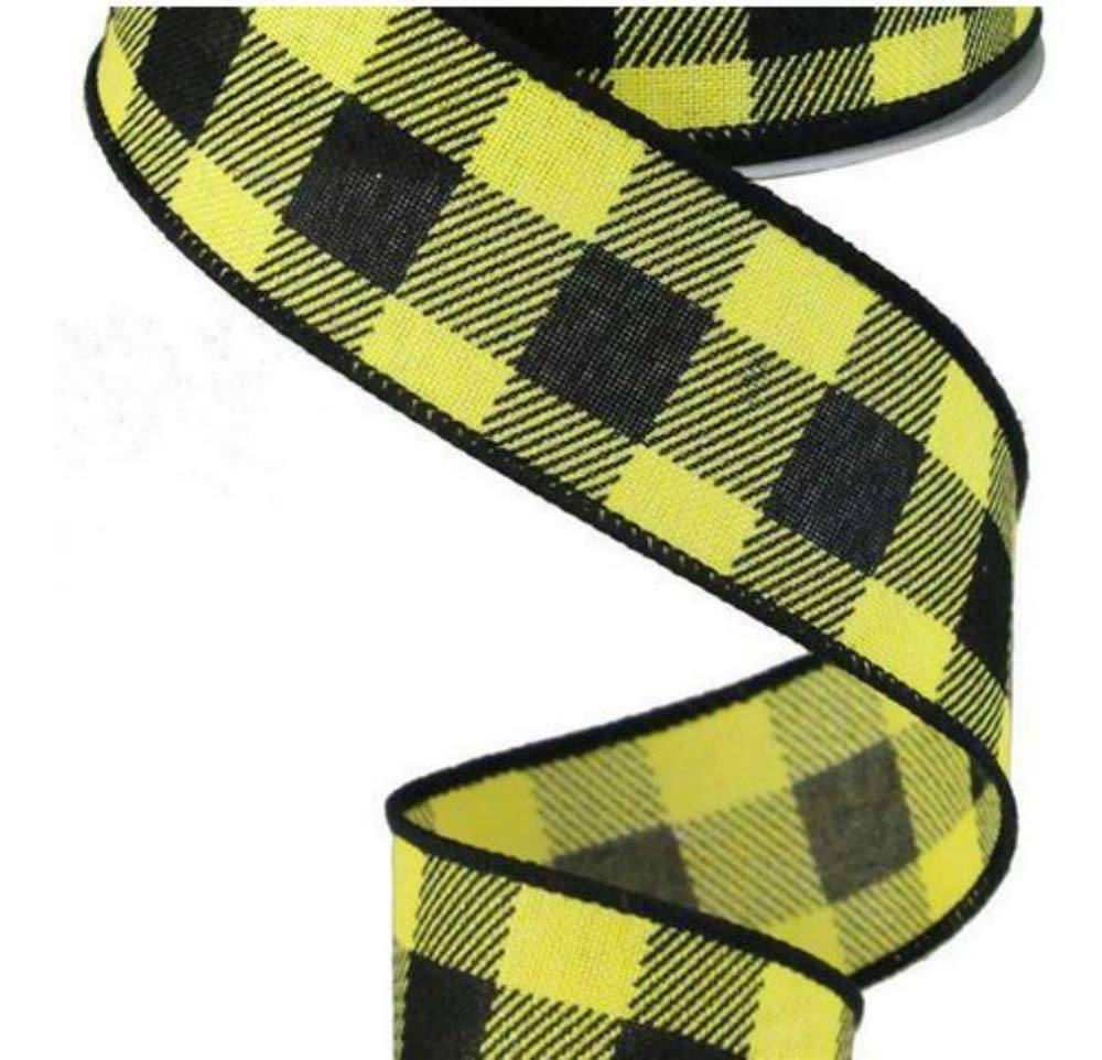 Red, Black, 1.5 10 Yards Plaid Check Wired Edge Ribbon