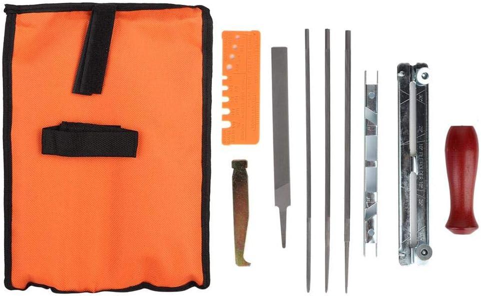 AUNMAS Kit de Afilado de Sierra de Cadena de 10 Piezas Conjunto de Herramientas de Archivo de Motosierra Archivo de Barra de guía para el jardín de su casa