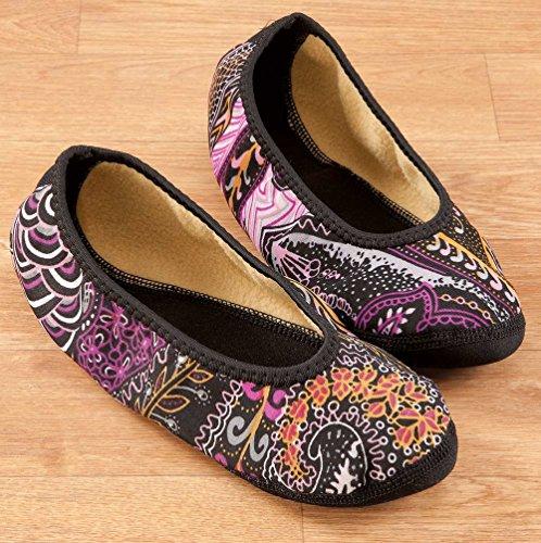 NuFoot Fuzzies Ballet Flats Womens Shoes, Best Foldable & Flexible Flats, Slipper Socks, Travel Slippers & Exercise Shoes, Dance Shoes, Yoga Socks, House Shoes, Indoor Slippers, Paisley, Large Paisley