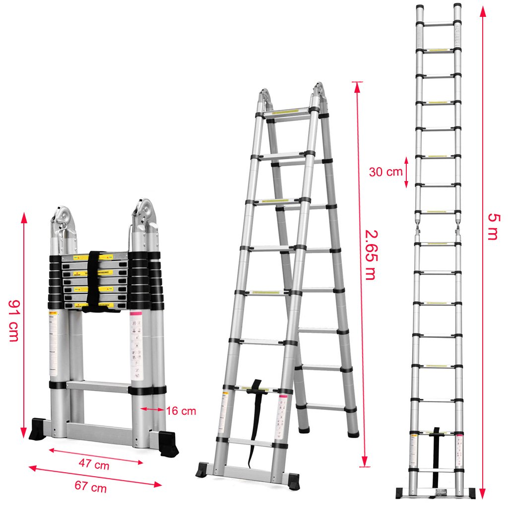 Finether 16.4ft Aluminum Telescoping Extension Ladder Portable Multi ...