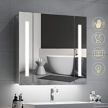 Quavikey 650 x 600mm LED Lumineuse Salle De Bains Miroir En Aluminium Salle  De Bains Miroir Avec Prise Pour Rasoir Désembuage Lumière Droite Pour ...