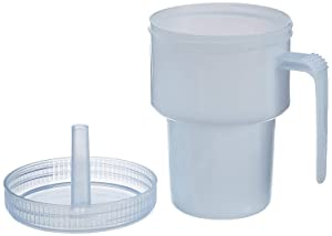 Sammons Preston Kennedy Cup, Spillproof Adult Sippy Cup with Handle & Secure Lid, 7 oz. No Spill Cups to Drink Hot & Cold Liquids Lying Down, Daily Living Glasses for Disabled & Elderly with Weak Grip