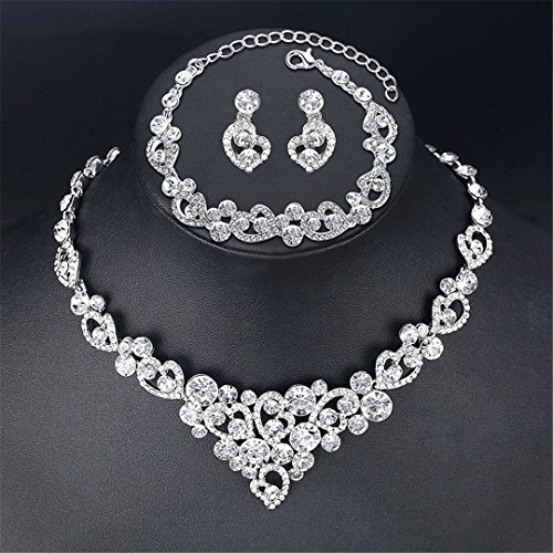 Heart Crystal Wedding Bridal Jewelry Sets Silver Color Rhinestone Wedding Jewelry Necklace Sets For Women TL310+MSL285 Clear Adjustable