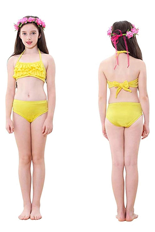 Set Bikini a 3 Pezzi con Alette Code Elastiche per Costumi da Bagno da Nuoto Costumi da Bagno DNFUN Code a Sirena da Bambina con Monopinna