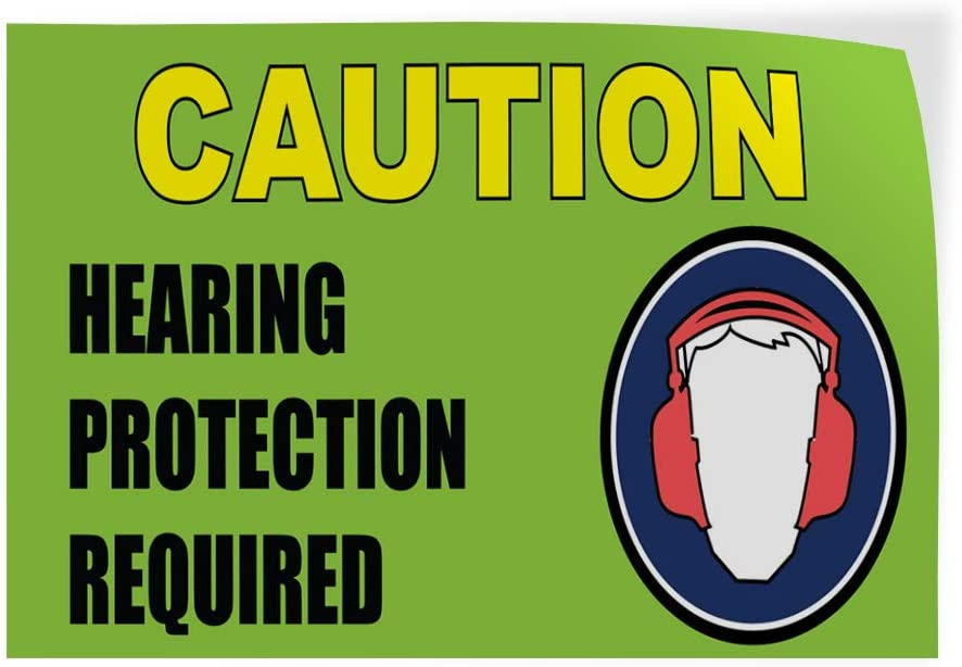 72inx48in, Decal Sticker Multiple Sizes Caution Hearing Protection Required Industrial /& Craft Caution Hearing Protection Outdoor Store Sign Green