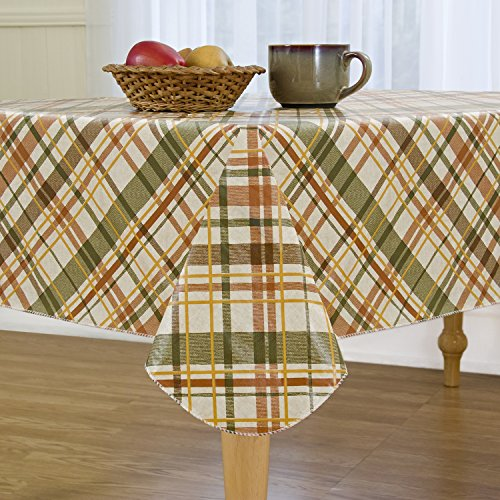 Elrene Home Fashions Vinyl Tablecloth with Polyester Flannel Backing Harvest Fall Plaid Easy Care Spillproof, 52