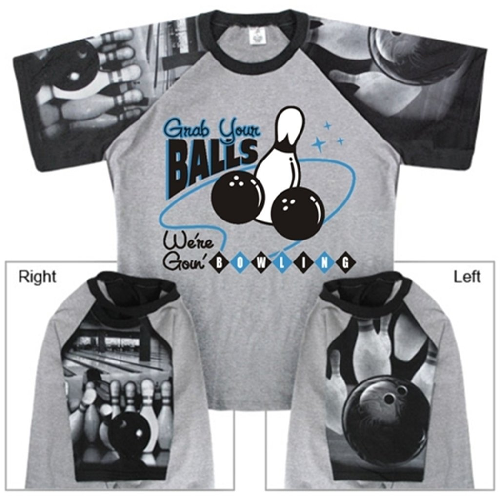 Grab Your Balls Bowling T-Shirt with Bowling Sleeve Design (Small, Gray/Black) by Bowlerstore Products