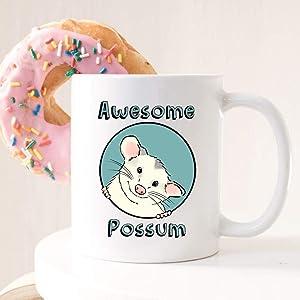 Awesome Possum Mug, Funny Opossum Mug, Cute Possum Mug, Possum Decor, Opossum Lover, Smiling Opossum, Marsupial Mug, Funny Possum Gift (11 oz)