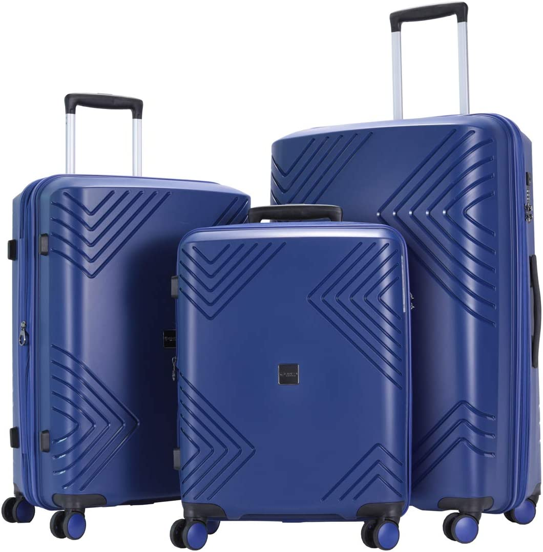 GinzaTravel PP Material Luggage 3 Piece Sets Lightweight Spinner Expandable Luggage all 20 24 28