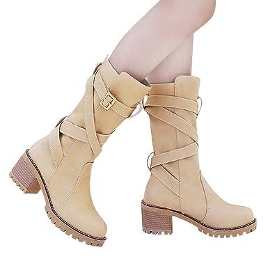 f1ba0dfead514c TianWlio Stiefel Boots Schuhe Stiefeletten Damen Herbst Winter High Heels  Blockabsatz Profilsohle Warm Gefüttert Boots Halbschaft