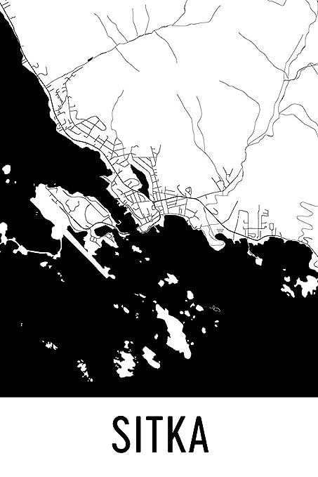 Amazon Com Sitka Print Sitka Art Sitka Map Sitka Ak Sitka