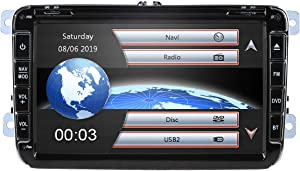 hizpo 8 Inch 2 Din Car Radio for VW Volkswage Golf Skoda Seat with Wince System DVD Player GPS Navigation FM AM Radio Bluetooth USB SD Supported Park Camera Steering Wheel 8GB Map Card