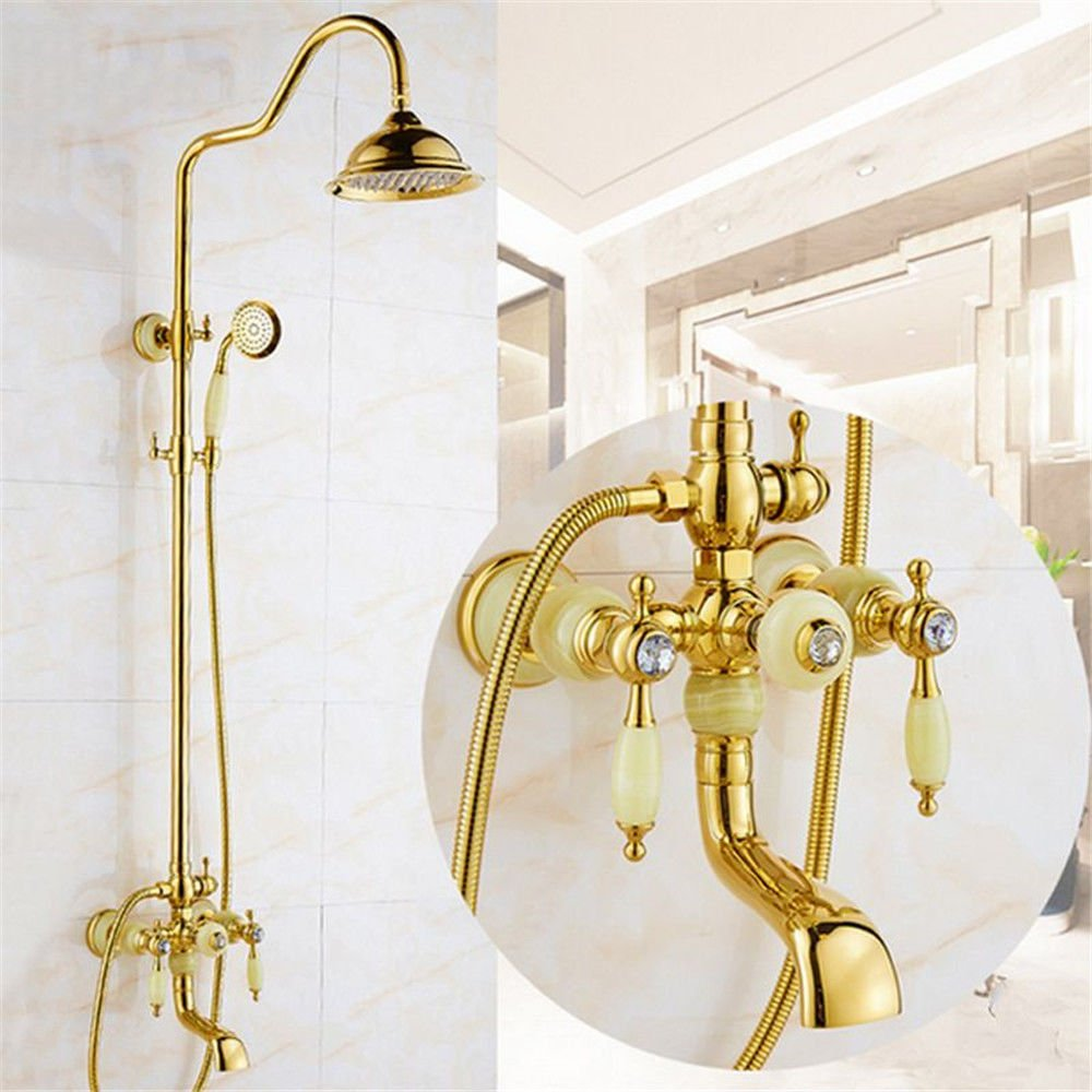A Hlluya Professional Sink Mixer Tap Kitchen Faucet Antique gold jade faucets shower faucet kit full copper wall mounted lift shower sprinkler handheld shower faucet,