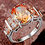 Party Fashion Jewelry Morganite White Silver Ring Size 7 8 (8)