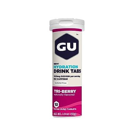 GU Energy Brew Electrolyte - Hydration Drink Tabs 1 tubo x 12 tabletas - Tri-