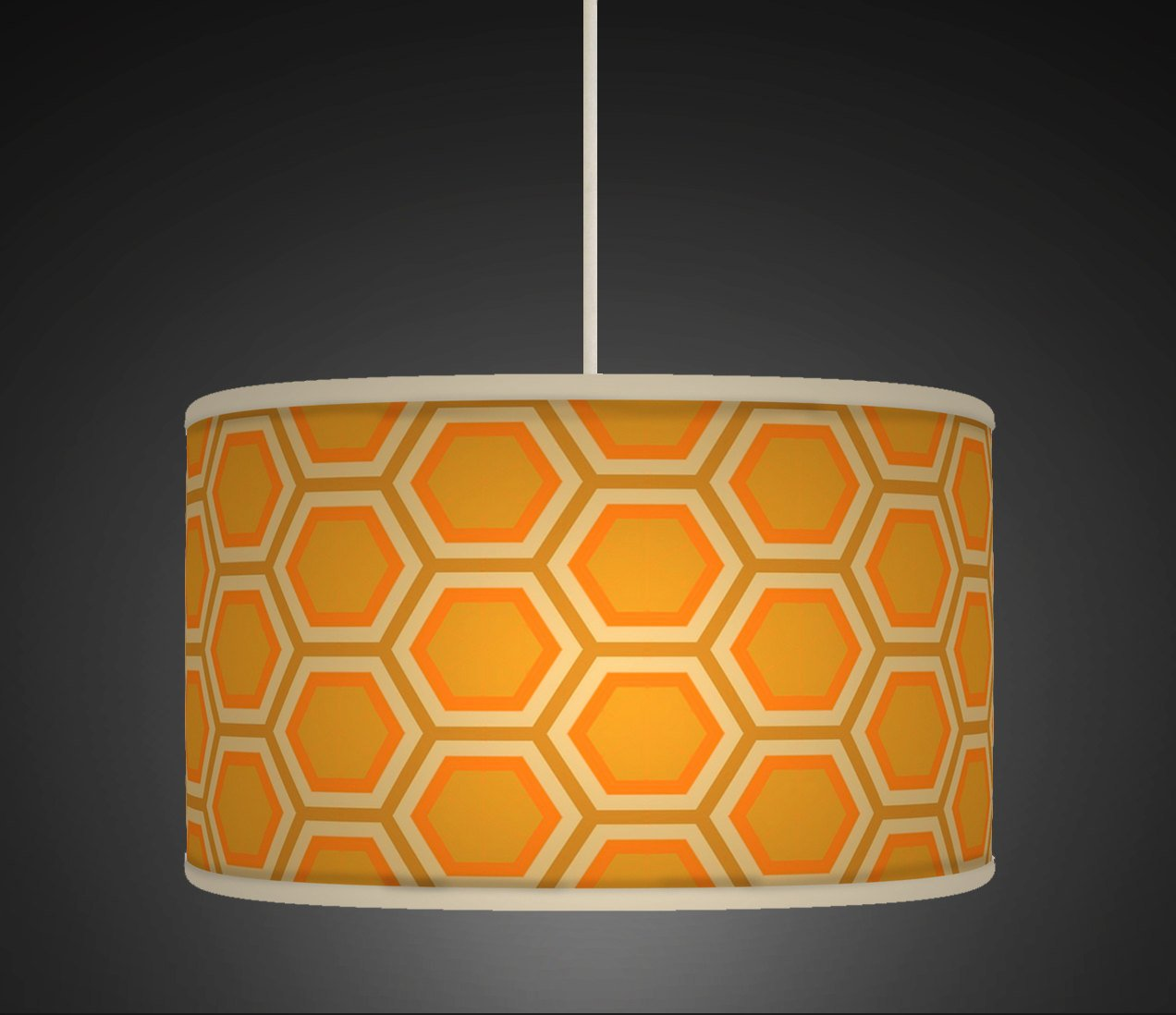 50cm 20 orange mustard honey comb retro geometric handmade 50cm 20 orange mustard honey comb retro geometric handmade printed fabric lamp drum lampshade floor or ceiling pendant light shade large lampshade 167 aloadofball Gallery