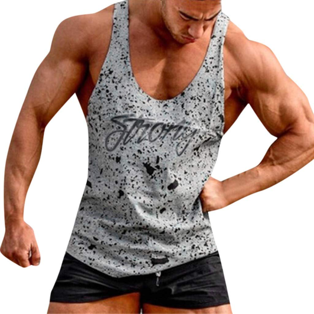 Men T— Shirt Undershirts Fitness Muscle Print Sleeveless Bodybuilding Tight-Drying Vest Blouses (M, White)
