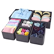 Homyfort Foldable Cloth Storage Box Closet Dresser Drawer Organizer Cube Basket Bins Containers Divider with Drawers for Underwear, Bras, Socks, Ties, Scarves, Set of 6,Grey