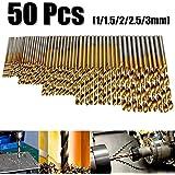 50Pcs Twist Drill Bit Set, Drillpro HSS Shank, Titanium Coated High Speed Steel, Mini Drill Bit , Micro Precision 1/1.5/2/2.5/3mm, Perfect for Wood, Plastic, Steel and Aluminum Alloy