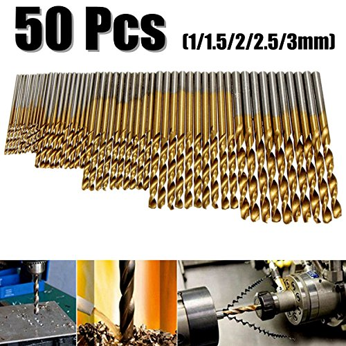 50Pcs Twist Drill Bit Set, Drillpro HSS Shank, Titanium Coated High Speed Steel, Mini Drill Bit , Micro Precision 1/1.5/2/2.5/3mm, Perfect for Wood, Plastic, Steel and Aluminum Alloy - Power Drill Bit Set