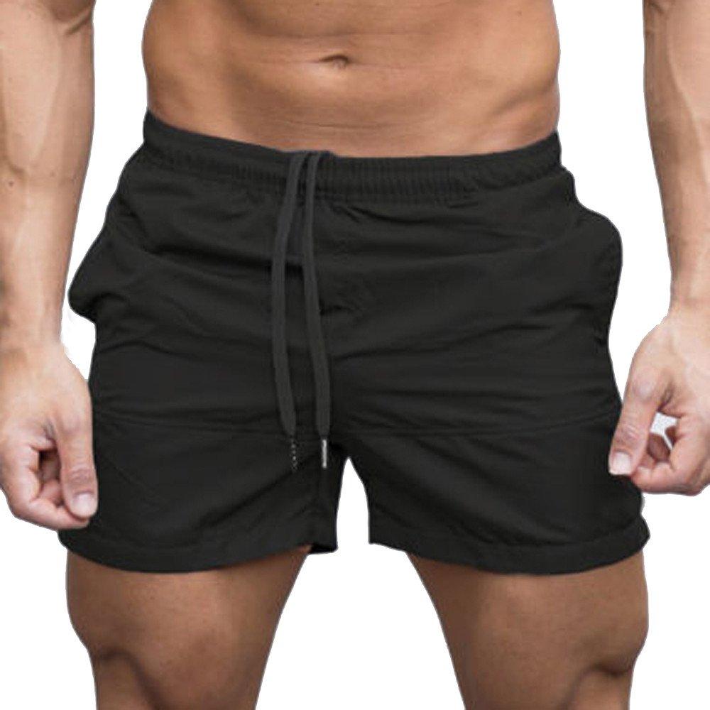 Men's Outdoor Shorts Elastic Waist Drawstring Sports Pants Summer Casual Workout Shorts with Pockets (2XL, Black) by Moxiu Men's Pant