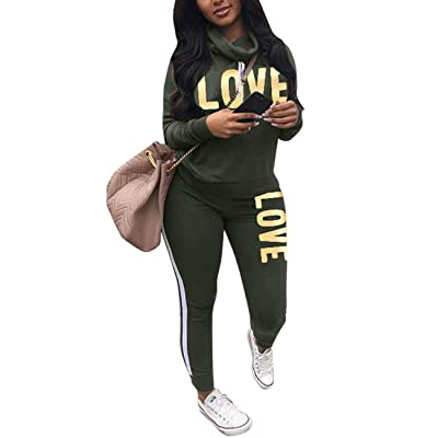 Angsuttc Women's Letter Print 2 Piece Outfits Cowl Neck Long Sleeve Sweatshirt and Pants Set Tracksuit at Women's Clothing store