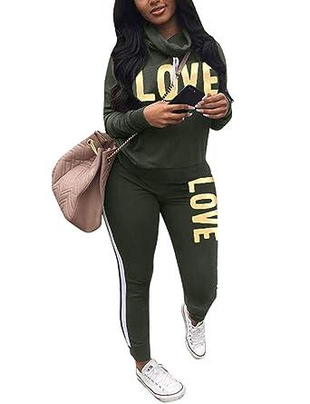 Women s Letter Print 2 Piece Outfit Cowl Neck Long Sleeve Sweatshirt and  Pants Joggers Set Tracksuit 1e62fe4f2cb2