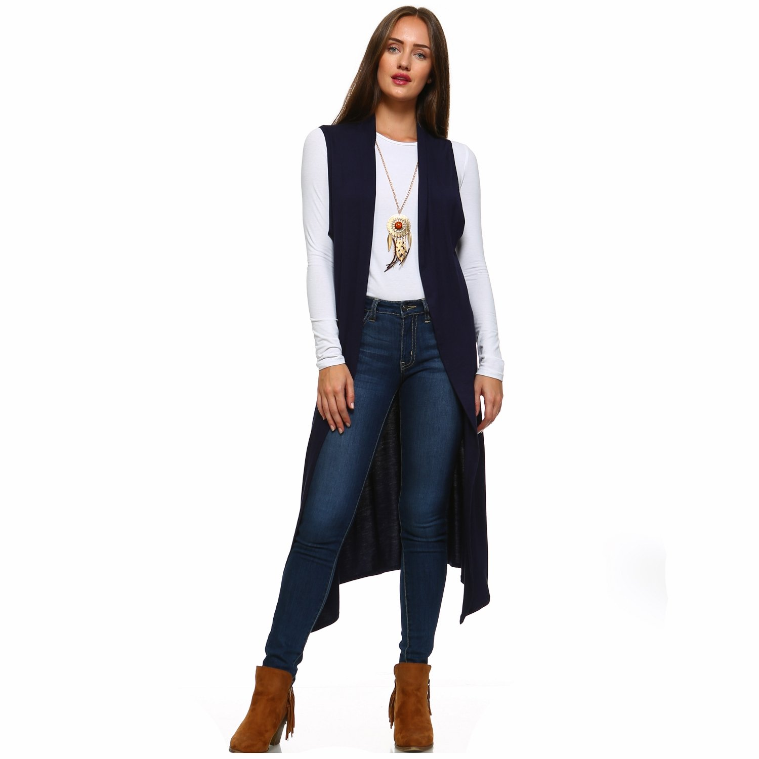 Isaac Liev Extra-Long Lightweight Cardigan with Side Slits at ...